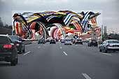 Beschleunigte Kunst auf der A9 bei München
